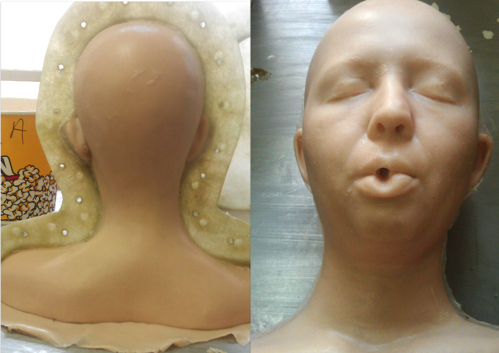 Silicone head coloured and created.